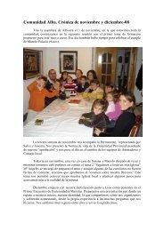 Comunidad Alba. Crónica de noviembre y diciembre-08