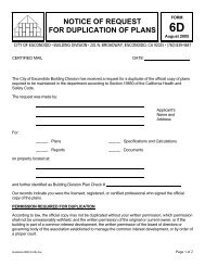 Notice of Request for Duplication of Plans - City of Escondido