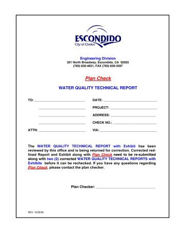 Water Quality Technical Report Plan Check - City of Escondido