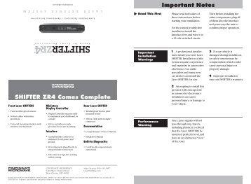 SHIFTER ZR4 Installation Manual - Escort Inc.