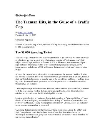 The Taxman Hits, in the Guise of a Traffic Cop