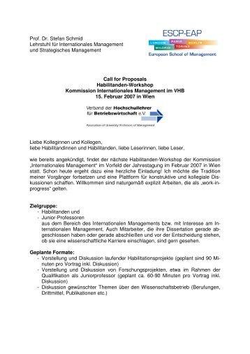 Prof. Dr. Stefan Schmid Lehrstuhl für Internationales Management ...