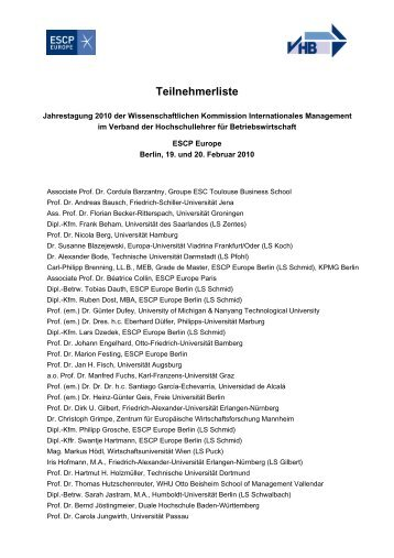 Teilnehmerliste - ESCP Europe