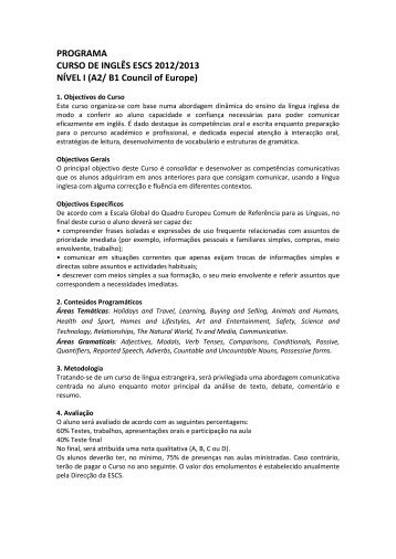 PROGRAMA CURSO DE INGLÊS ESCS 2012/2013 NÍVEL I (A2/ B1 ...