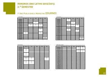 HORÁRIOS ANO LETIVO 2012/2013 2.º SEMESTRE