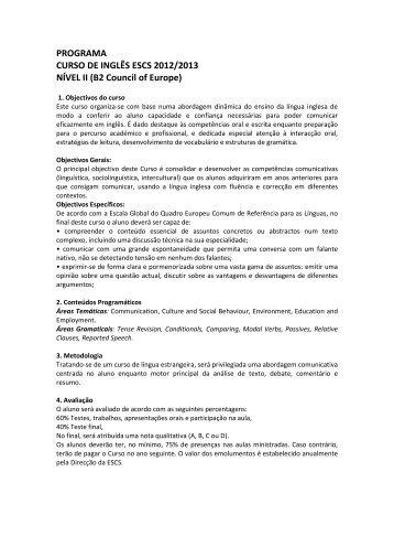 PROGRAMA CURSO DE INGLÊS ESCS 2012/2013 NÍVEL II (B2 ...