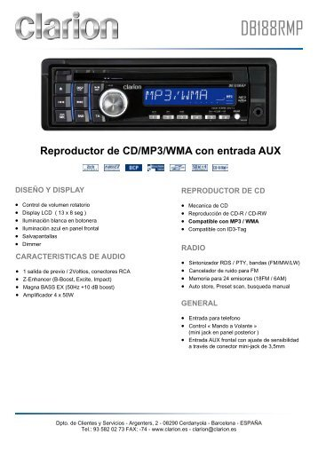 Reproductor de CD/MP3/WMA con entrada AUX