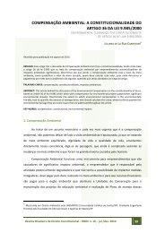 COMPENSAÇÃO AMBIENTAL: A CONSTITUCIONALIDADE DO ...