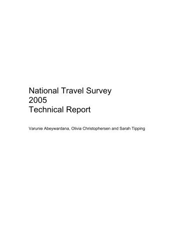 National Travel Survey 2005 technical report online - ESDS