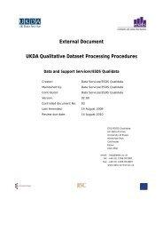 UK Data Archive Qualitative Dataset Processing Procedures - ESDS