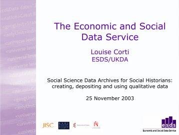 creating, depositing and using qualitative data - ESDS