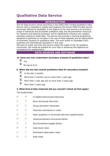 Qualitative Data Service Questionnaire - ESDS