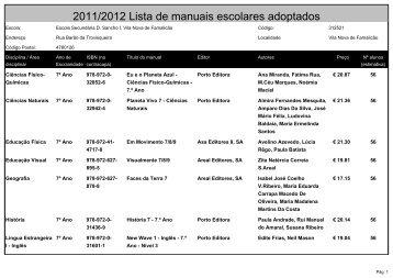 2011/2012 Lista de manuais escolares adoptados - Esds1.pt
