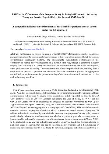 Full Paper - ESEE 2011 - Advancing Ecological Economics