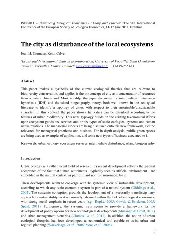 The city as disturbance of the local ecosystems - ESEE 2011 ...