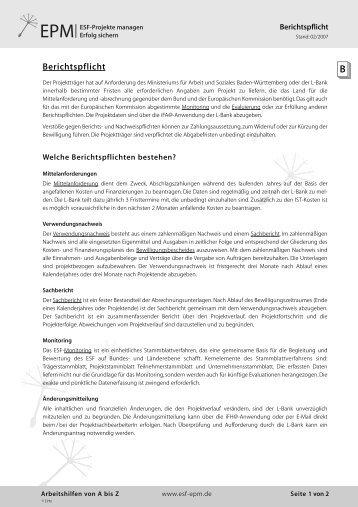 Berichtspflicht - esf-epm