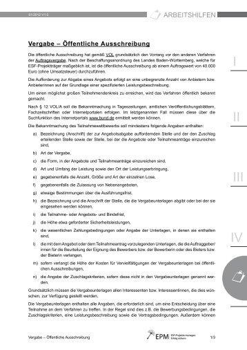 Öffentliche Ausschreibung (PDF) - esf-epm