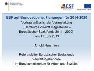 Thematische Schwerpunkte des Bundes-OP - ESF in Hamburg