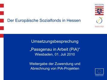 Weitergabe Zuwendung und Abrechnung in PiA - ESF Hessen
