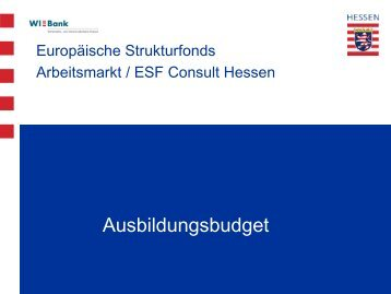 Ausbildungsbudget - ESF Hessen