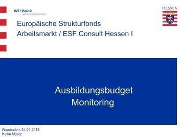 Ausbildungsbudget Monitoring - ESF Hessen