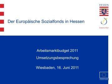 Präsentation zur Umsetzung des Arbeitsmarktbudgets - ESF Hessen