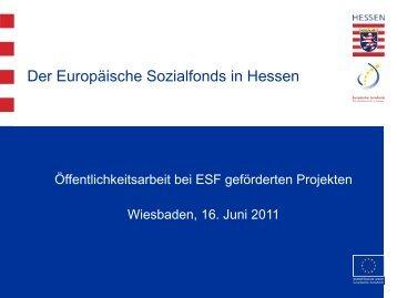 Präsentation zur Öffentlichkeitsarbeit - ESF Hessen