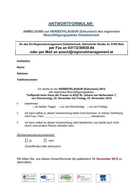 Antwortformular - ESF