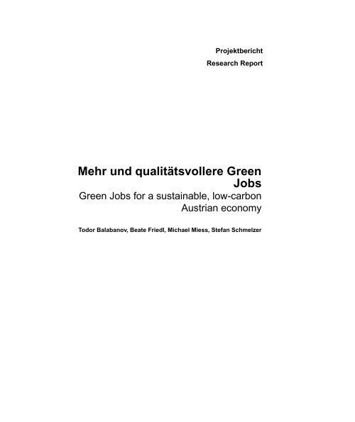 Mehr und qualitätsvollere Green Jobs - ESF