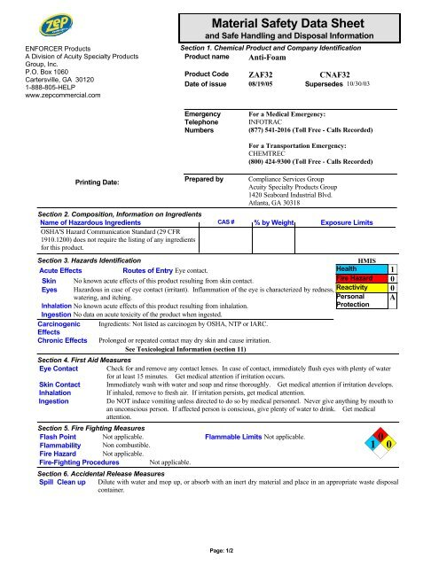 3554 Anti-Foam (English (US)) MSDS ZEP Commercial 16 Section