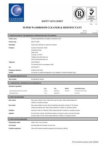 Msds Pursue Disinfectant Cleaner Amway