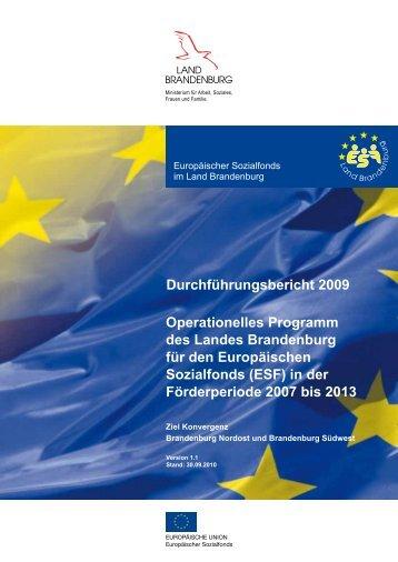 Durchführungsbericht für den ESF 2009 - ESF in Brandenburg ...