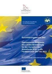 Durchführungsbericht für den ESF 2007 - ESF in Brandenburg ...