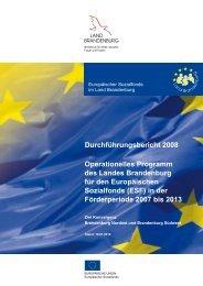 Durchführungsbericht für den ESF 2008 - ESF in Brandenburg ...