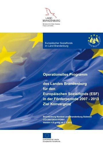 des Landes Brandenburg für den Europäischen Sozialfonds (ESF ...