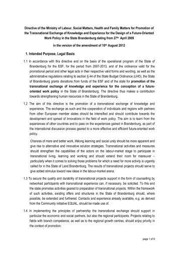 Transnational Directive Stand 10.8.2012 - ESF in Brandenburg ...