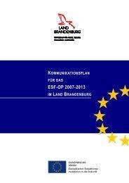 kommunikationsplan für das esf-op 2007-2013 im land brandenburg
