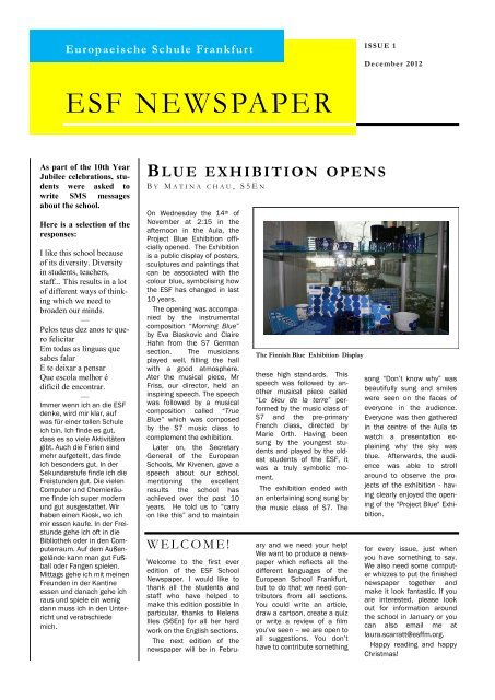 ESF NEWSPAPER Europäische Schule Frankfurt am Main