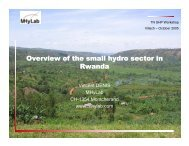 Overview of the small hydro sector in Rwanda - ESHA