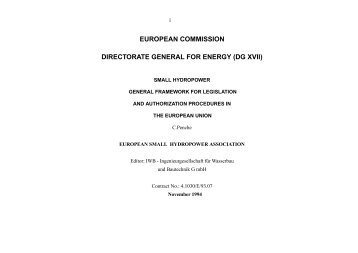 european commission directorate general for energy (dg xvii) - ESHA