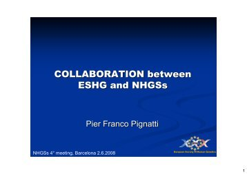 COLLABORATION between ESHG and NHGSs - European Society ...