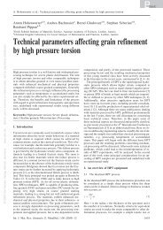 Technical parameters affecting grain refinement by high pressure ...