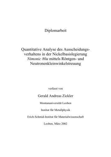Diplomarbeit Quantitative Analyse des Ausscheidungs- verhaltens ...