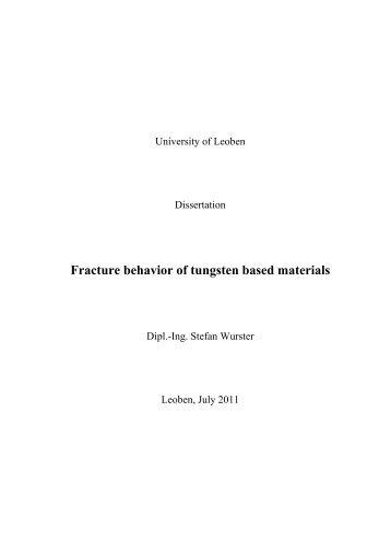 Fracture behavior of tungsten based materials - Erich Schmid Institute