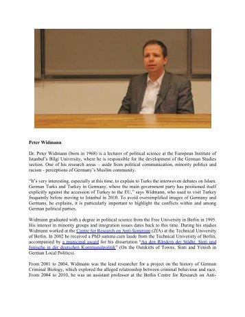 Peter Widmann Dr. Peter Widmann (born in 1968) is a lecturer ... - ESI