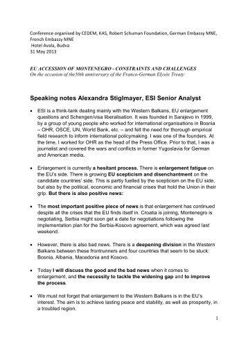 Speaking notes Alexandra Stiglmayer, ESI Senior Analyst
