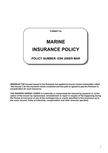 Format Dx Marine Insurance Policy - Eskom