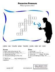 Possessive Pronouns word puzzle - ESL Galaxy