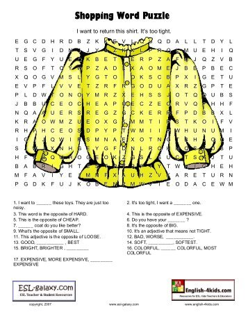 shopping list word search puzzle - Find these words in ...