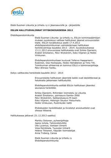 Hallitusvalinnat - Etelä-Suomen Liikunta ja Urheilu ry